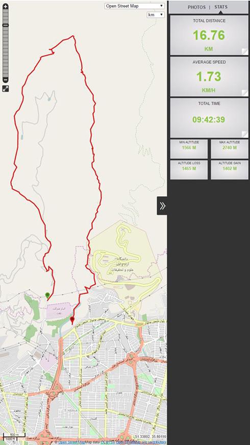 گروه کوهنوردی پرسون - نقشه مسیر ثبت شده در ViewRanger - قله بند عیش