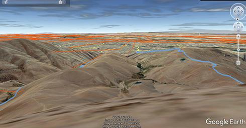 گروه کوهنوردی پرسون - مسیر رفت و برگشت به قله بند عیش در Google Earth با قرار گرفتن بر بالای قله