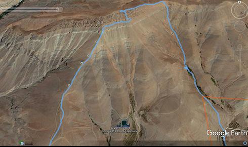 گروه کوهنوردی پرسون - مسیر حرکت از کنار تیغه ها و صعود به قله بند عیش در Google Earth