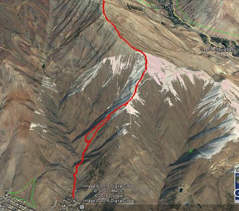 مسیر صعود گروه کوهنوردی پرسون به قله دارآباد - Google Earth